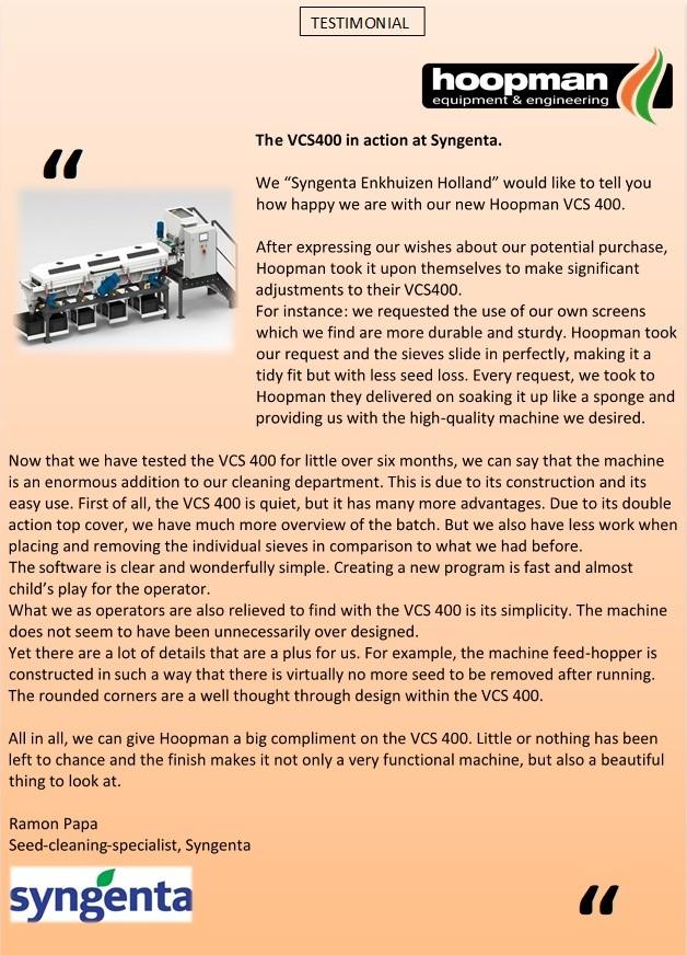 VCS400Testimonial Syngenta NL